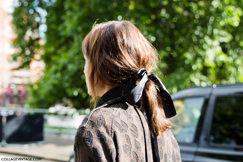 LFW-London_Fashion_Week_Spring_Summer_2014-Street_Style-Say_Cheese-Collage_Vintage-Alexa_Chung-Burberry-Hairstyle-Ponytail-bow-