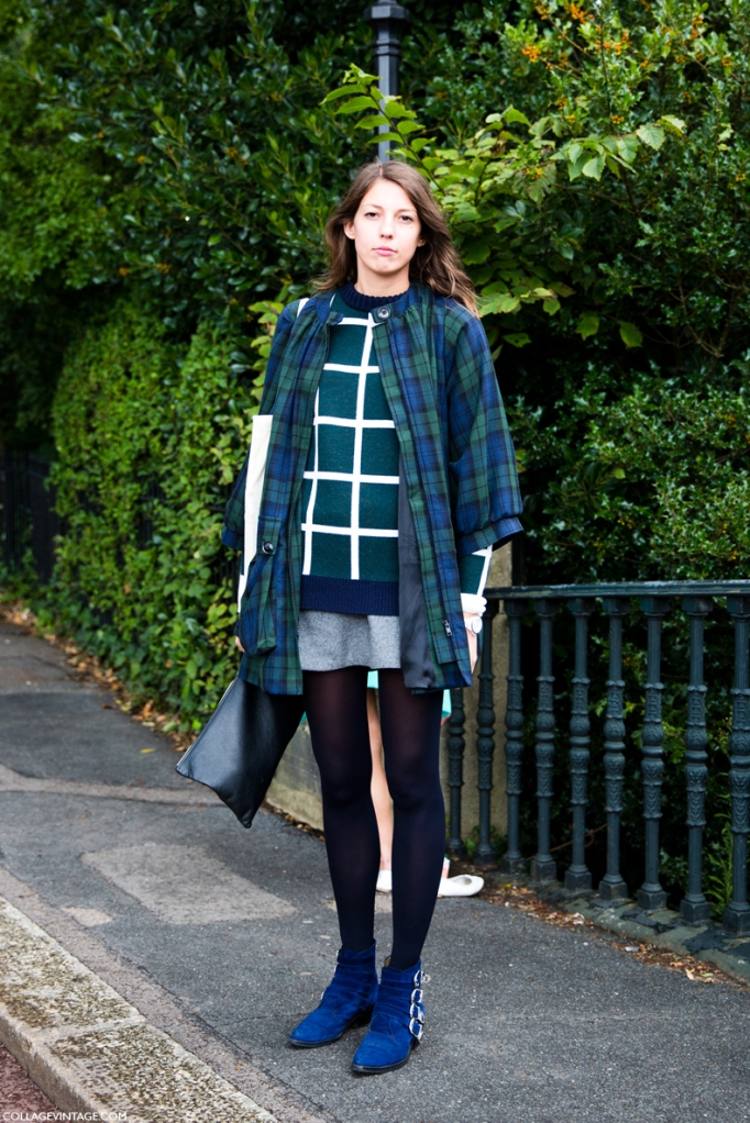 LFW-London_Fashion_Week_Spring_Summer_2014-Street_Style-Say_Cheese-Collage_Vintage-Mixing_Prints-Tartan-Plaid_Trench-