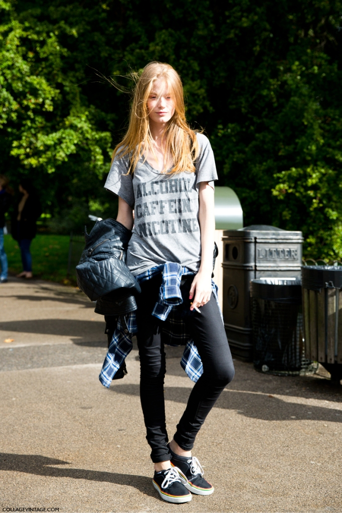 LFW-London_Fashion_Week_Spring_Summer_2014-Street_Style-Say_Cheese-Collage_Vintage-Model-Message_Top-