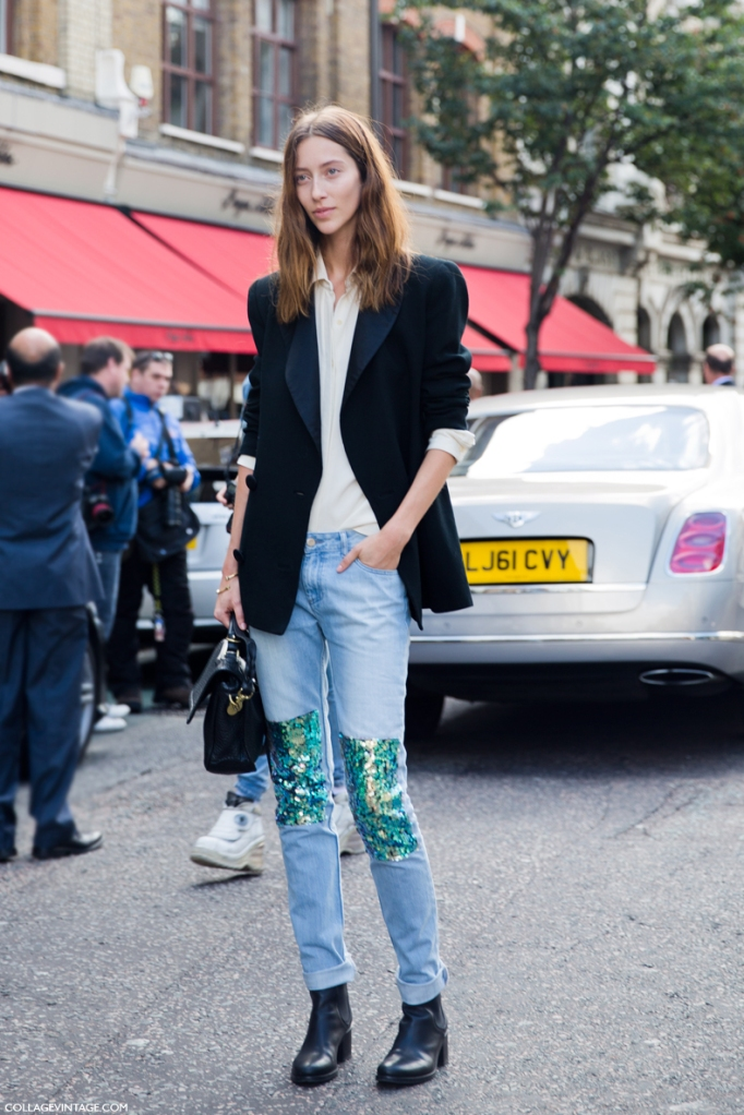 LFW-London_Fashion_Week_Spring_Summer_2014-Street_Style-Say_Cheese-Collage_Vintage-Model-Michel_Kane-Paillette_Jeans-