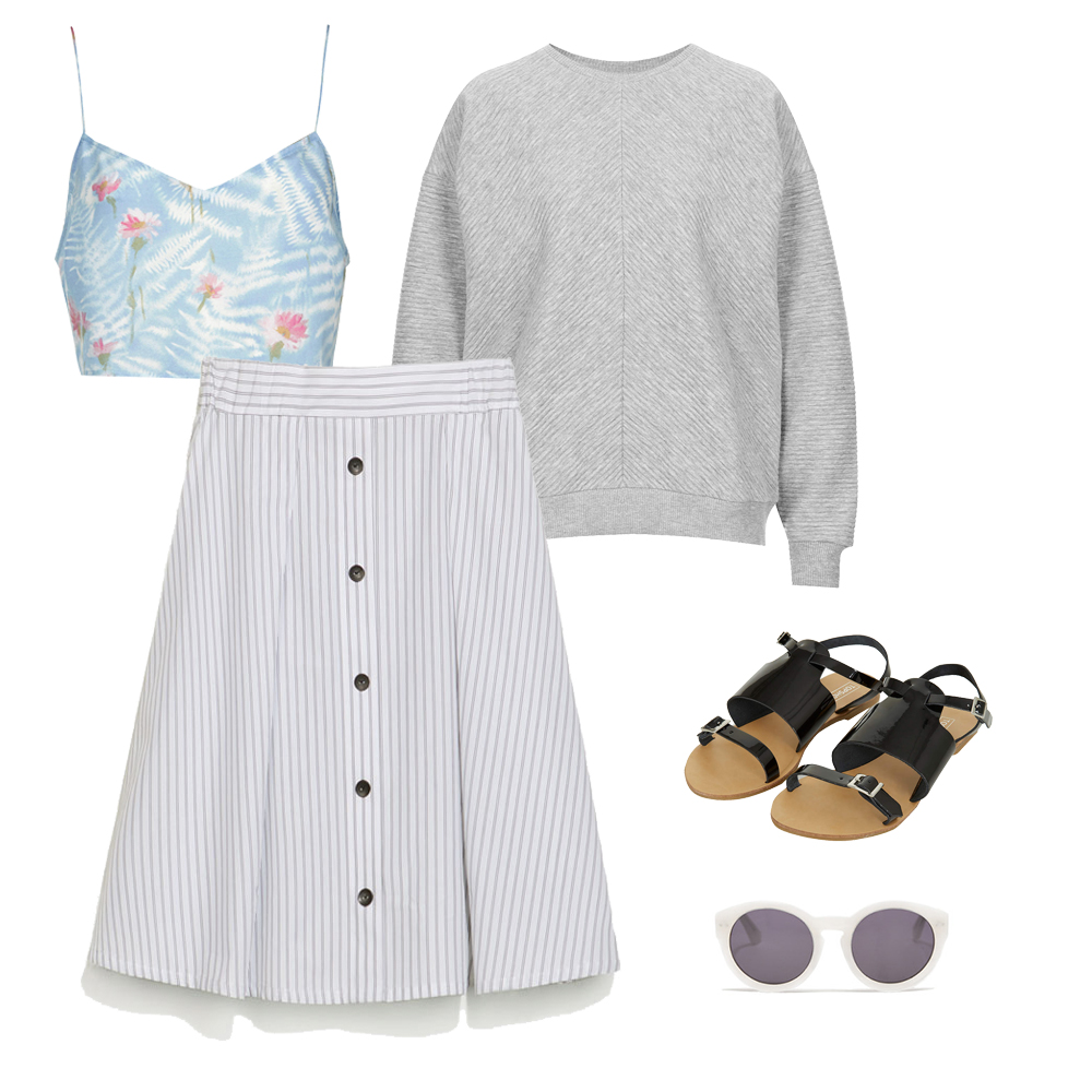 look striped skirt